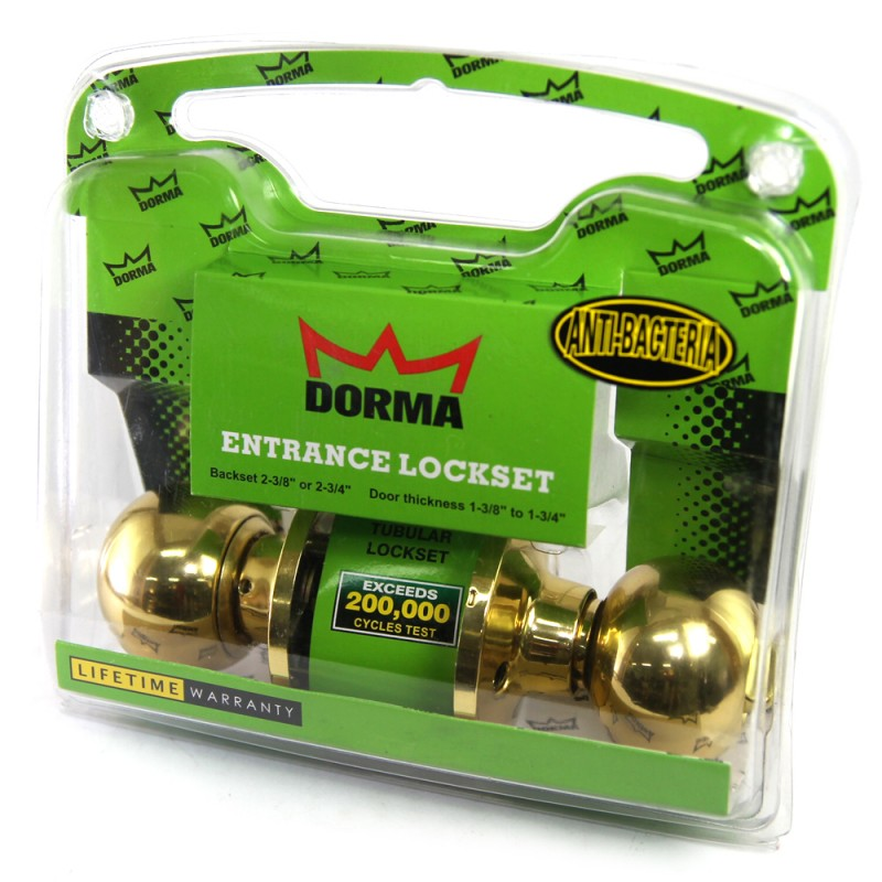 Dorma Entrance Tubular Knob Lockset TA1 Berlin Finishes US3 Standard Polished Brass