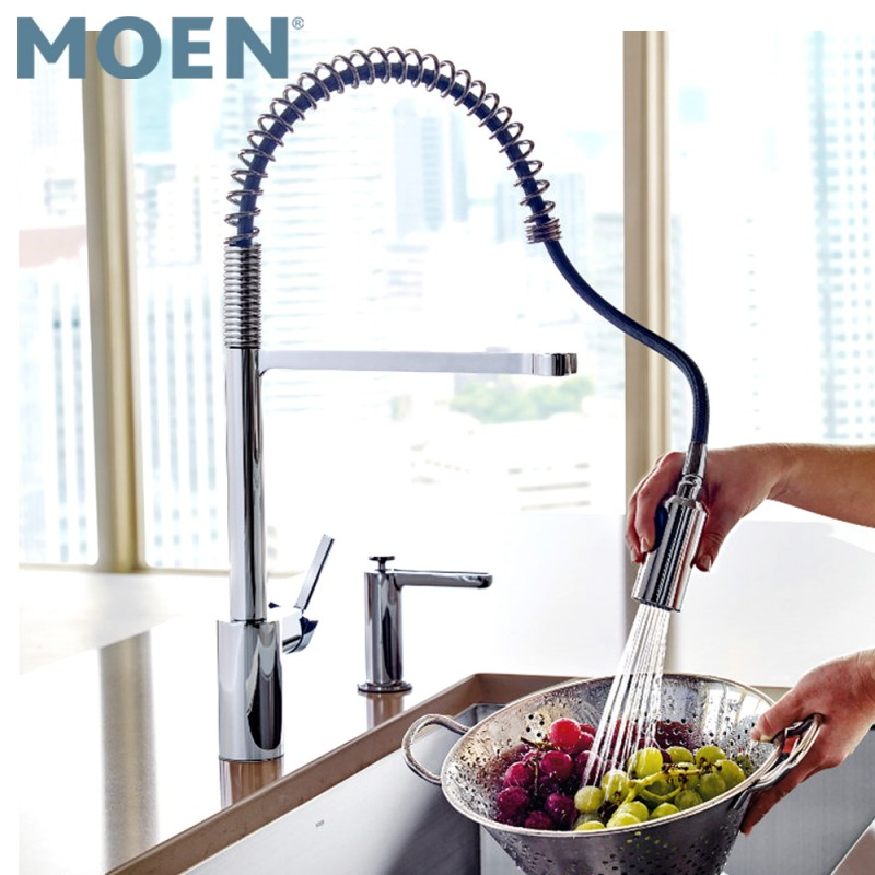 Moen 5923SRS Align Spot Resist Stainless One-Handle Pre-Rinse Spring Pulldown Kitchen Faucet