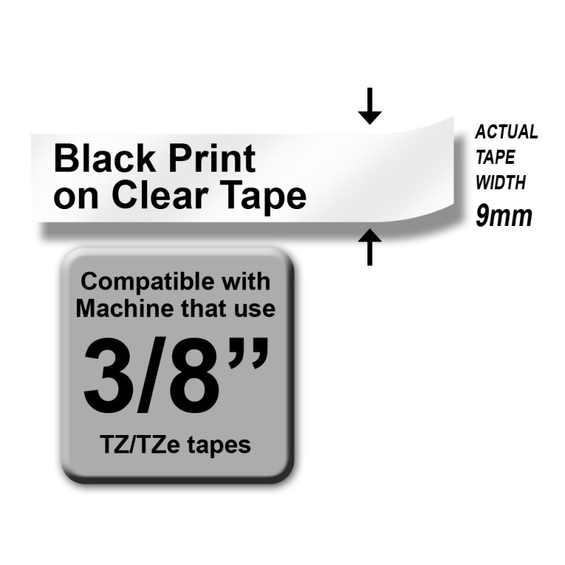 Brother TZe-121 Labelling Tape – Black on Clear, 9mm wide Standard Laminated