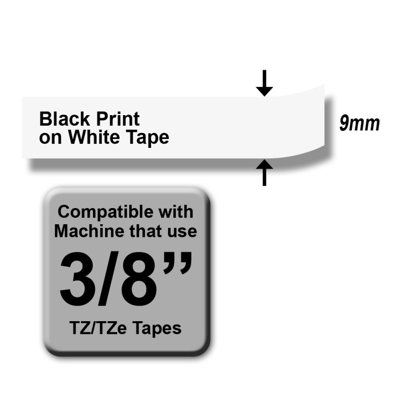 Brother TZe-221 Labelling Tape – Black on White, 9mm wide Standard Laminated