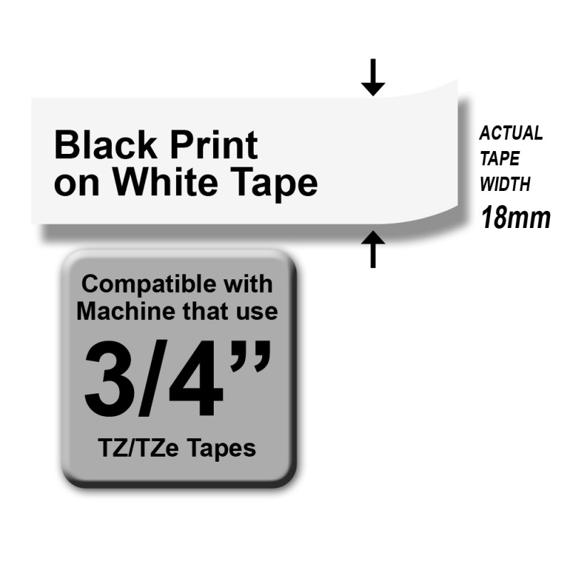 Brother TZe-241 Labelling Tape – Black on White, 18mm wide Standard Laminated