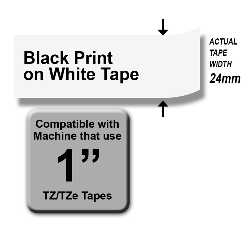 Brother TZe-251 Labelling Tape – Black on White, 24mm wide Standard Laminated